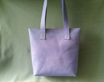 Leather Shopper color lavender, leather bag, handmade