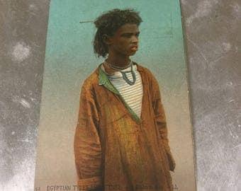 Antique postcard Egyptian Boy