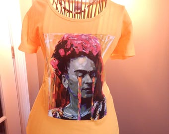 Frida Kahlo Yellow T Shirt with Handmade Neckplace in Black