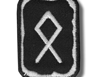 Othala rune - embroidered patch, 4x5 cm
