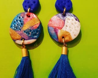 Handmade earrings with tassel