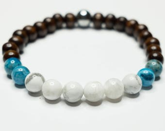 Boho Wood Bracelet, Wood and Gemstone Bracelet, Stretch Stone Bracelet, Boho Mens Jewelry, Boho Mens Bracelet, Mens Beaded Bracelet, Boho