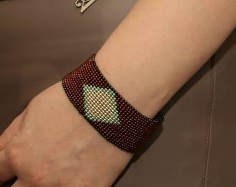 Handmade Toho Bead Bracelet, Brown Galvanized Seed Beads Bracelet, Adjustable Loom Bracelet