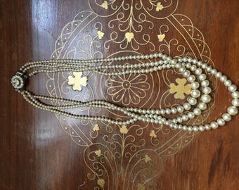 1940s costume pearl necklace with crystal clasp