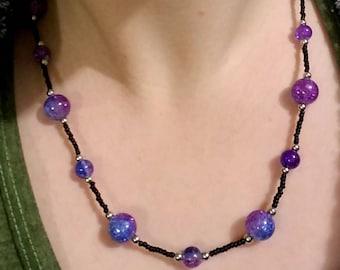 Purple & blue shimmer necklace