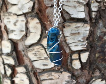 Raw Blue Luster Stone Necklace