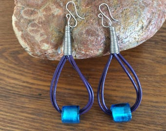 Unique Handmade Leather Stainless Steel Glass Bead Earrings