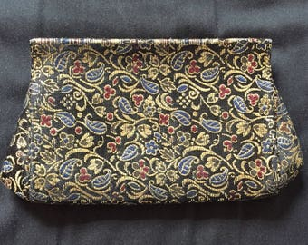 Vintage 70s Gold Tapestry Evening Clutch
