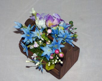 Little Rustic Crate with Blue Flowers, Farmhouse Box with Flowers, Blue Floral Arrangement, Wooden Rustic Box with Blue Flowers for gift