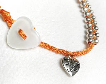 "Bracelet ""Heart"" in 925 Silver, braided ORANGE"