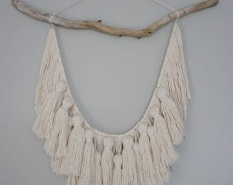 Large Macrame Tassel Yarn Wall Hanging, Dirftwood, Beach, Boho Decor