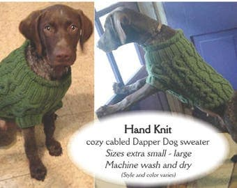 Dapper Dog Hand Knit Sweater pull over, easy care, machine wash & dry, warm, cozy