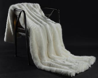 White Faux Fur Weight Blanket - Arctic Fox, weight Blanket, Throw Blanket, Faux Fur Throw