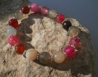 Agate Bracelet, faceted 10 mm #037