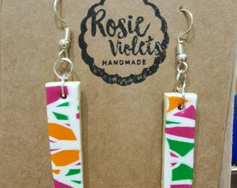 Multi coloured mosaic polymer clay drop earrings