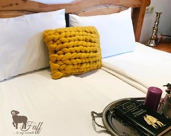 Decorative square Merino pouf pillow