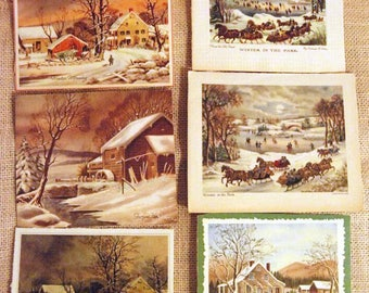 Lot of 18 Currier and Ives Christmas Cards