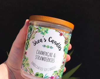 Champagne & Strawberries Large Oxford Soy Candle