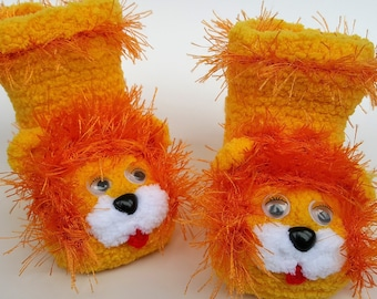 Handmade Baby Lion Booties for Boy and Girl
