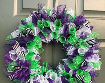 Purple and Lime Green Deco Mesh Wreath