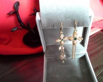 CROSS Pearl beaded Dangling Earrings