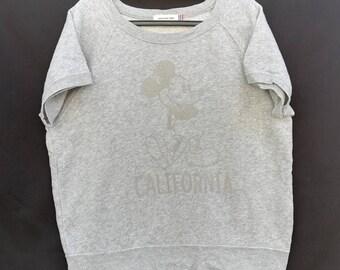Rare!!! Mickey Mouse California Sweatshirt short sleeve Crewneck