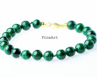 Fine Art Malachite Bracelet Silver 925
