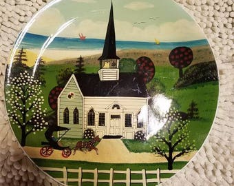 Amish Church painting on dinner plate