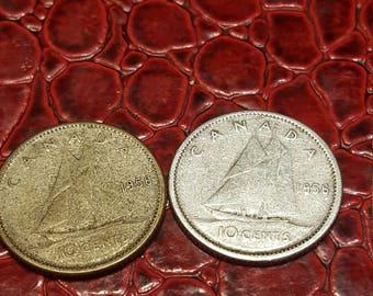 1956  Canada 10 Cent Dime Silver Coin-1 coin