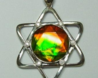 20mm Ammolite Star of David Pendant