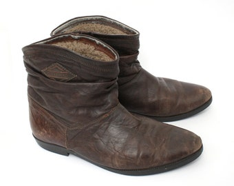 EU 42 vintage Ankle boots - brown leather italian shoes made in Italy - womens size Uk 7.5 / Us 10 - mens size Uk 8 / Us 8.5 - winter lining