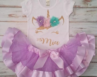 Pastel Pink Lavender and Aqua and Gold Unicorn Personalized Birthday 3d Shirt and Ribbon Tutu Birthday Outfit
