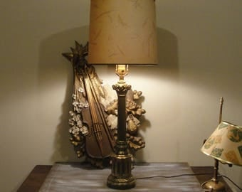 Greek pillar lamp, gold metal, vintage home decor