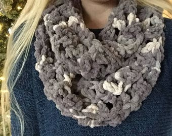 Multi-Colored Gray Crocheted Scarf