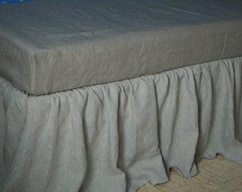 Linen bed skirt Ruffle Bedskirt Bed valance Bed Skirts Dust King queen bedding Flax Linen Bedding Custom Linen Coverlet bed skirt