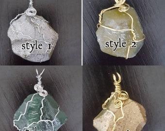 Wire wrapped orgone gemstones