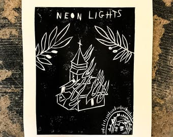 Neon Lights Lino Print