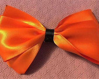 Boutique Bow, Stacked Boutique, Fancy Bow, Orange Barrette, Easter Bow,  girls barrette, layered over the top, Orange and Black, 4 1/2""