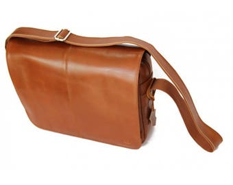 Mj Vintage - Leather Bag Brown caramel-Black lining