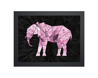 Geometric Pink Elephant (Printable Animal Art - Instant Digital Download)