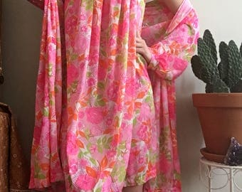 1970's pink floral Lingerie/Sleepwear Set • Nightie • Nightgown • Robe • Slip Dress • Vintage • Hippie • Vintage Lingerie • Flowers • Boho •