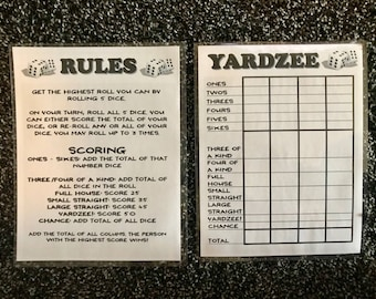 Fan image intended for free printable yardzee rules