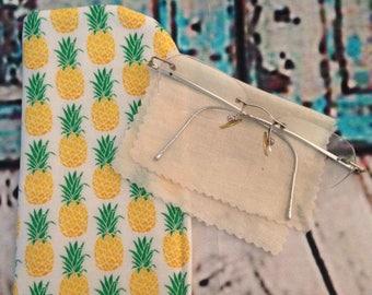 Pineapple Eyeglass Case / Women Eyeglass Case / Fruit eyeglass Case