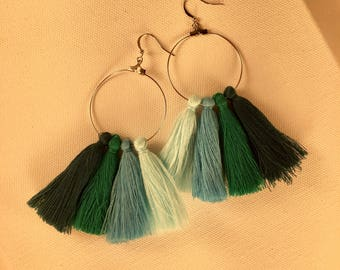 Ombre hoop tassel earrings