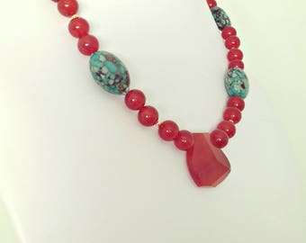 Gorgeous chunky gemstone beaded necklace