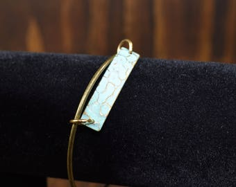 Teal Hammered Bangle Bracelet