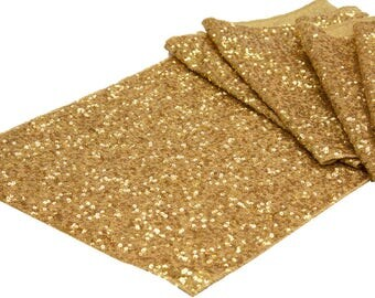 SALE Gold Sequin Table Runner Tablecloth Table Cloth Dinner Cake Sweet Heart Wedding Sparkly Glittery Gold Wholesale Sale Fast Shipping