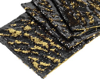 Gold Black Sequin Table Runner Table Cloth Sparkly Linens Wedding Event Birthday Anniversary Mermaid Flip Reversible Tablecloth Fancy Sale