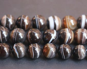 15 inches Full strand, Striped Agate smooth round beads 6,8,10,12,14,16,18mm,loose beads,semi-precious stone