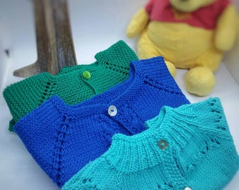 Baby girl newborn 0-3 handknit all cotton spring summer sweater cardigan new baby gift photo prop baby shower  gift ready to ship